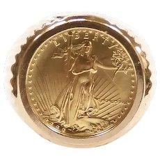 1987 1/10 Oz Fine Gold $5 Dollar American Gold Eagle Coin Ring Fine 24k Gold and 14k Yellow Gold