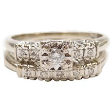 Vintage Diamond .12 ctw Engagement Ring and Wedding Band Set 14k White Gold