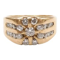 Gents Diamond 1.05 ctw Cluster Ring 14k Yellow Gold