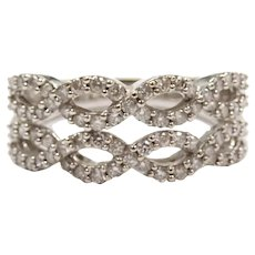 Diamond .56 ctw Woven Infinity Double Band Ring 14k White Gold