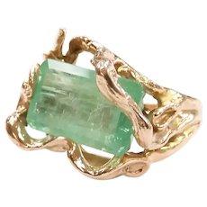 Natural Emerald 4.70 Carat Custom Made Branch Ring 14k Yellow Gold