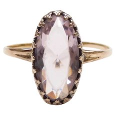 Edwardian Faux Amethyst 1.89 Carat Solitaire Ring 10k Yellow Gold