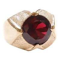 Vintage Pigeon Blood Created Ruby 3.68 Carat Solitaire Ring 10k Gold