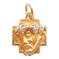 Diamond .03 ctw Religious Jesus Christ Charm / Pendant 14k Yellow and White Gold Two-Tone