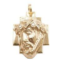 Diamond .08 ctw Religious Jesus Christ Cross Pendant / Charm 14k Yellow Gold