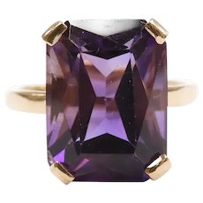 Vintage Amethyst 6.20 Carat Solitaire Ring 14k Yellow Gold