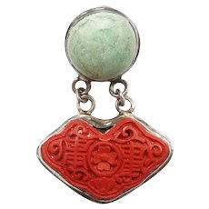 Green Turquoise and Carved Red Cinnabar Pendant Sterling Silver