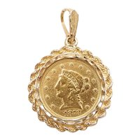 Liberty Head $2.50 1873 90% Coin Pendant in 14k Yellow Gold Bezel Pendant