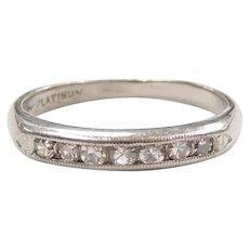 Vintage Diamond .18 ctw Wedding Band Ring Platinum