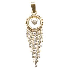 Dreamcatcher Bohemian Tassel Pendant 14k Yellow and White Gold Two-Tone