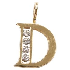 Diamond .07 ctw Letter D Pendant / Charm 14k Yellow and White Gold Two-Tone