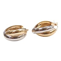 Crisscross Hoop Earrings 14k Yellow and White Gold Two-Tone