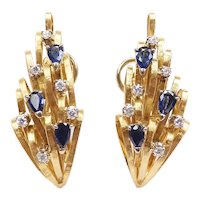 Sapphire and Diamond 1.14 ctw Statement Earrings 18k Yellow and White Gold Two-Tone