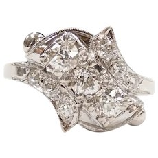 Antique Diamond .66 ctw Bypass Ring 14k White Gold