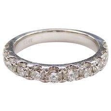 Diamond 1.11 ctw Wedding Band Ring 14k White Gold