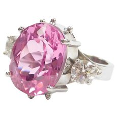 12.50 ctw Lab-Grown Pink Sapphire and Diamond Ring 14k White Gold