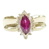 Ruby and Diamond .91 ctw Halo Ring 14k Gold
