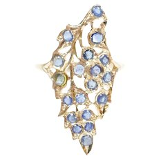 Sapphire 1.46 ctw Elongated Bohemian Feather / Leaf Ring 14k Rose Gold