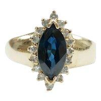 Sapphire and Diamond 1.52 ctw Halo Ring 14k Gold