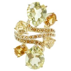 Colorful Citrine 9.46 ctw Fashion Ring 14k Gold