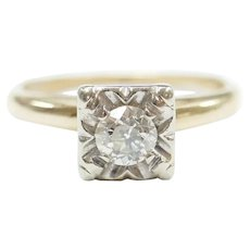 Vintage Diamond .26 Carat Solitaire Illusion Head Engagement Ring 14k Gold Two-Tone