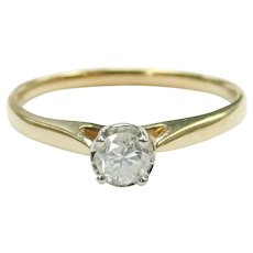 Diamond .20 Carat Solitaire Engagement Ring 10k Gold Two-Tone