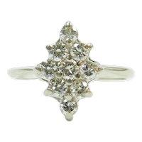 Diamond .54 ctw Navette Shape Cluster Ring 14k White Gold