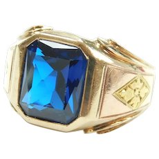 Edwardian Cobalt Blue Spinel 8.00 Carat Ring 10k Yellow and Rose Gold