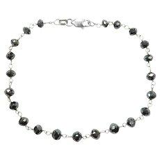 Briolette Black Diamond 14.50 ctw Bead Bracelet 14k White Gold