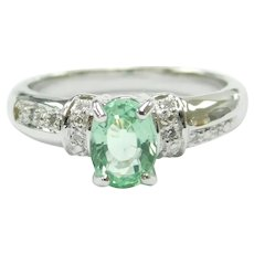 """Paraiba"" Electric Green Tourmaline and Diamond .734 ctw Ring 18k White Gold"