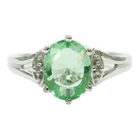 """Paraiba"" Electric Green Tourmaline and Diamond 1.477 ctw Ring 18k White Gold"