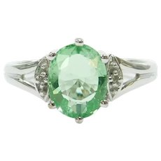 """Paraiba"" Electric Green Tourmaline and Diamond 1.477 ctw Ring 18k White Gold"