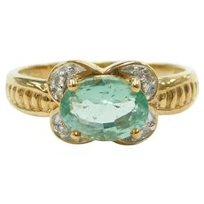 """Paraiba"" Electric Green Tourmaline and Diamond .97 ctw Ring 18k Gold Two-Tone"