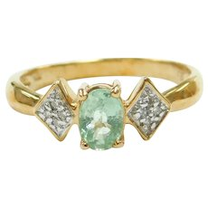 """Paraiba"" Electric Green Tourmaline and Diamond .41 ctw Ring 18k Gold Two-Tone"
