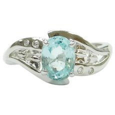 """Paraiba"" Electric Blue Tourmaline and Diamond 1.24 ctw Ring 18k White Gold"