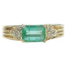 Natural Emerald and Diamond .70 ctw Ring 14k Gold Two-Tone