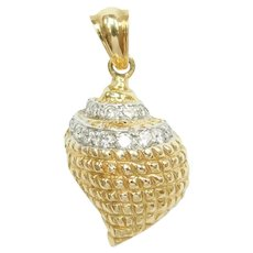 Diamond .20 ctw Nautical Shell Pendant / Charm 14k Gold Two-Tone