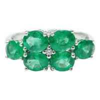 Natural Emerald and Diamond 1.54 ctw Ring 18k White Gold