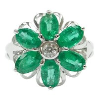 Natural Emerald and Diamond 2.38 ctw Flower Ring 18k White Gold