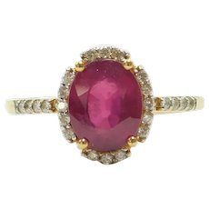Natural Ruby and Diamond 2.41 ctw Halo Ring 18k Gold