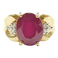 Natural Ruby and Diamond 4.09 ctw Ring 18k Gold