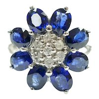 Sapphire and Diamond 3.43 ctw Cluster Flower Ring 14k White Gold