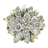 Diamond 1.22 ctw Cluster Ring 14k Gold Two-Tone with Arthritic Shank