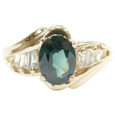Green and White Sapphire 2.03 ctw Ring 14k Gold