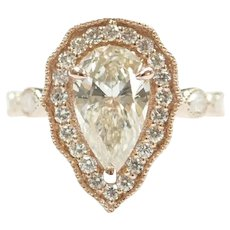 Diamond 1.78 ctw Pear Halo Engagement Ring 14k Rose Gold