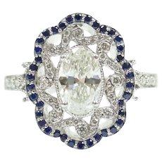 GIA Certified .66 Carat (.974 ctw) Diamond and Sapphire Ornate Vintage Inspired Halo Engagement Ring 14k White Gold 143
