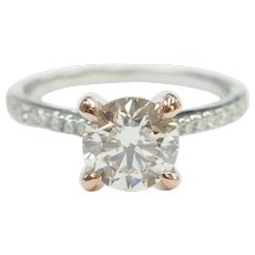 GIA Certified 1.03 Carat (1.347 ctw) Engagement Ring 14k White and Rose Gold