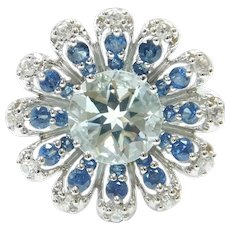 Aquamarine, Sapphire and White Spinel 3.36 ctw Flower Ring 10k White Gold