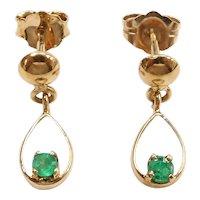 Petite Emerald .16 ctw Drop Earrings 14k Gold