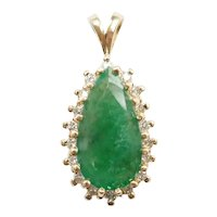 Natural Emerald and Diamond 3.34 ctw Halo Pendant 14k Gold